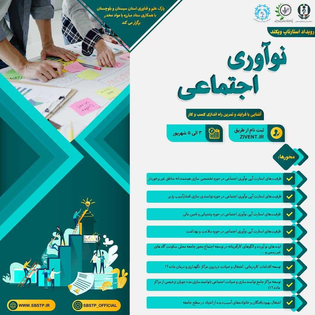 سی و چهارمین رویداد شتاب استان سیستان و بلوچستان با محوریت نوآوری اجتماعی